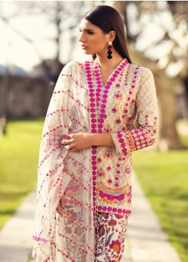 Mina Hasan Embroidered Lawn Unstitched 3 Piece Suit MH18L 10A - Festive Collection
