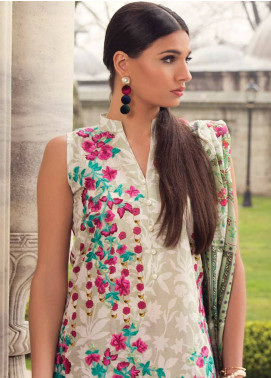 Mina Hasan Embroidered Lawn Unstitched 3 Piece Suit MH18L 2B - Festive Collection