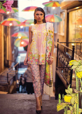 Mina Hasan Embroidered Lawn Unstitched 3 Piece Suit MH18L 7B - Festive Collection