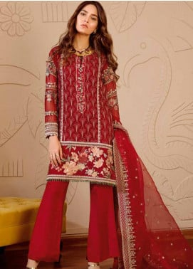Mila Embroidered Chiffon Unstitched 3 Piece Suit MA19-C1 01 Garnet - Luxury Collection