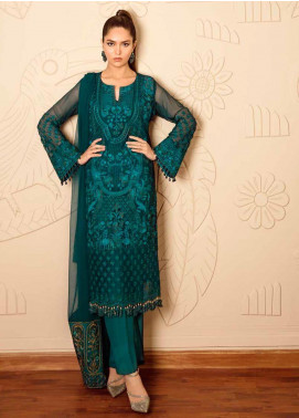 Mila Embroidered Chiffon Unstitched 3 Piece Suit MA19-C1 03 Sacramento - Luxury Collection