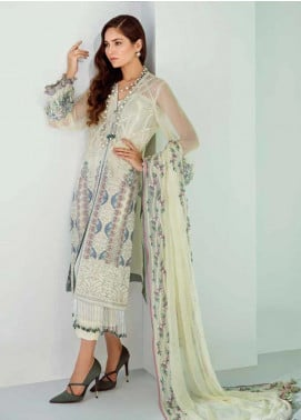 Mila Embroidered Chiffon Unstitched 3 Piece Suit MA19-C1 04 Daffodil - Luxury Collection