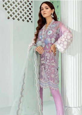 Mila Embroidered Chiffon Unstitched 3 Piece Suit MA19-C1 05 Wisteria - Luxury Collection