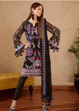 Mila Embroidered Chiffon Unstitched 3 Piece Suit MA19-C1 08 Onyx Obsession - Luxury Collection