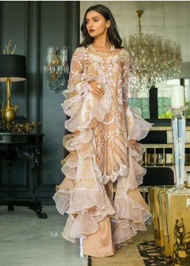 Mina Hasan Embroidered Chiffon Unstitched 3 Piece Suit MH20C 1 - Luxury Collection