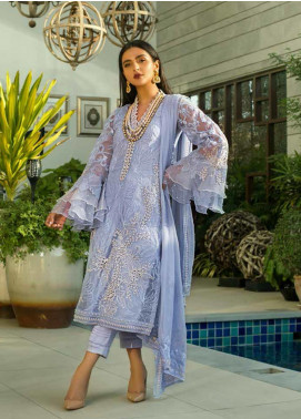 Mina Hasan Embroidered Organza Unstitched 3 Piece Suit MH20C 10 - Luxury Collection