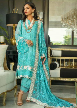 Mina Hasan Embroidered Chiffon Unstitched 3 Piece Suit MH20C 2 - Luxury Collection