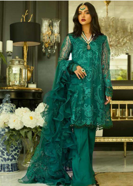 Mina Hasan Embroidered Organza Unstitched 3 Piece Suit MH20C 4 - Luxury Collection