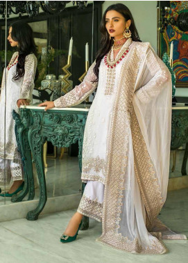 Mina Hasan Embroidered Chiffon Unstitched 3 Piece Suit MH20C 5 - Luxury Collection