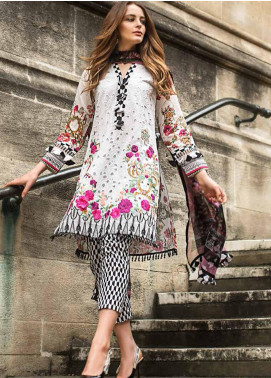 Mina Hasan Embroidered Schiffli Unstitched 3 Piece Suit MH19F 10B - Festive Collection