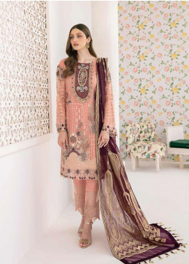 Minhal by Ramsha Embroidered Chiffon Unstitched 3 Piece Suit RSH20M 302 - Luxury Collection