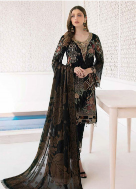 Minhal by Ramsha Embroidered Chiffon Unstitched 3 Piece Suit RSH20M 303 - Luxury Collection