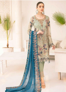 Minhal by Ramsha Embroidered Chiffon Unstitched 3 Piece Suit RSH20M 304 - Luxury Collection