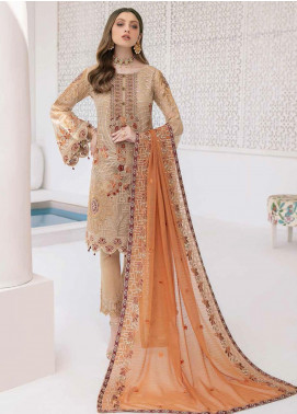 Minhal by Ramsha Embroidered Chiffon Unstitched 3 Piece Suit RSH20M 305 - Luxury Collection