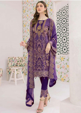Minhal by Ramsha Embroidered Chiffon Unstitched 3 Piece Suit RSH20M 306 - Luxury Collection