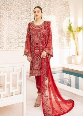 Minhal by Ramsha Embroidered Chiffon Unstitched 3 Piece Suit RSH20M 308 - Luxury Collection