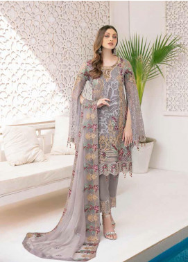 Minhal by Ramsha Embroidered Chiffon Unstitched 3 Piece Suit RSH20M 309 - Luxury Collection