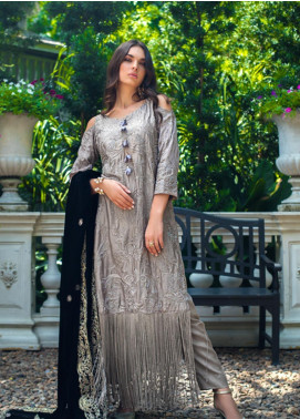 Mirha by ZS Textile Embroidered Charmeuse Unstitched 3 Piece Suit MZS19CH 4 - Winter Collection