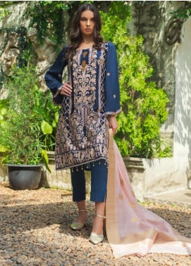 Mirha by ZS Textile Embroidered Charmeuse Unstitched 3 Piece Suit MZS19CH 8 - Winter Collection