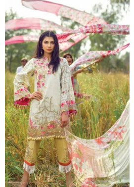 Mishkal Embroidered Lawn Unstitched 3 Piece Suit MK17L 4A