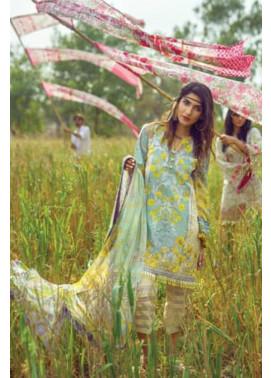 Mishkal Embroidered Lawn Unstitched 3 Piece Suit MK17L 5A