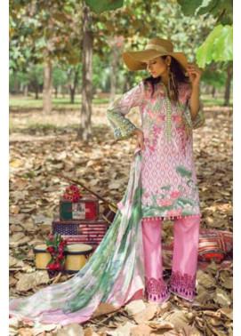 Mishkal Embroidered Lawn Unstitched 3 Piece Suit MK17L 8A
