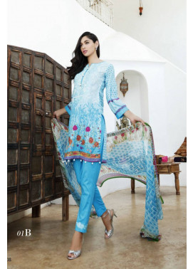 Al Zohaib Embroidered Lawn Unstitched 3 Piece Suit MN17E 1B
