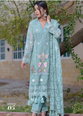 Zohan Textile Embroidered Chiffon Unstitched 3 Piece Suit ZT20MS 5 - Luxury Collection