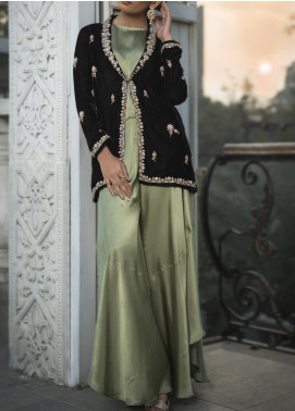 Fayon Embroidered Velvet Stitched 2 Piece Suit FN-M102 Ivory Hues