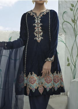 Fayon Embroidered Velvet Stitched 3 Piece Suit FN-M103 Moore