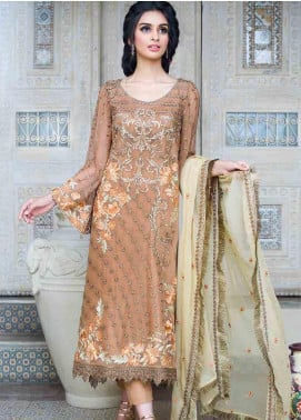Motifz Embroidered Chiffon Unstitched 3 Piece Suit MTF19-C3 2258 SMOKE BROWN - Luxury Collection