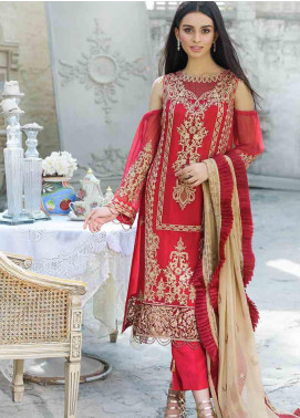 Motifz Embroidered Chiffon Unstitched 3 Piece Suit MTF19-C3 2259 ROYAL CRIMSON - Luxury Collection
