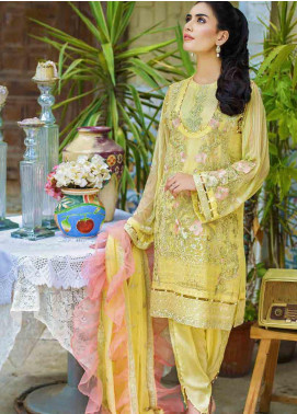 Motifz Embroidered Chiffon Unstitched 3 Piece Suit MTF19-C3 2261 POWDER YELLOW - Luxury Collection