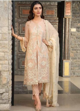 Motifz Embroidered Bemberg Chiffon Unstitched 3 Piece Suit MTF19-C4 2289 Pastel Pearl - Luxury Collection