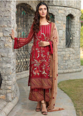 Motifz Embroidered Bemberg Chiffon Unstitched 3 Piece Suit MTF19-C4 2292 Cheerful Red - Luxury Collection