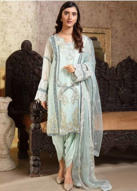 Motifz Embroidered Bemberg Chiffon Unstitched 3 Piece Suit MTF19-C4 2296 Powder Grace - Luxury Collection