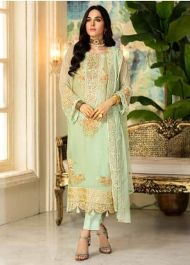 Motifz Embroidered Chiffon Unstitched 3 Piece Suit MT20C MWU02330-999 Summer Green - Luxury Collection