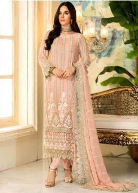 Motifz Embroidered Chiffon Unstitched 3 Piece Suit MT20C MWU02331-999 Pink Flare - Luxury Collection