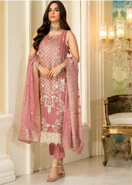 Motifz Embroidered Chiffon Unstitched 3 Piece Suit MT20C MWU02332-999 Oyster Pink - Luxury Collection