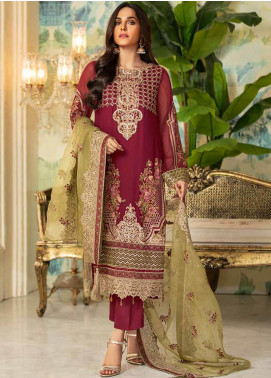Motifz Embroidered Chiffon Unstitched 3 Piece Suit MT20C MWU02334-999 Old Rose - Luxury Collection