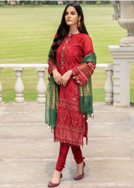 Motifz Embroidered Lawn Unstitched 3 Piece Suit MT20-PF2 2588 Garnet - Festive Collection