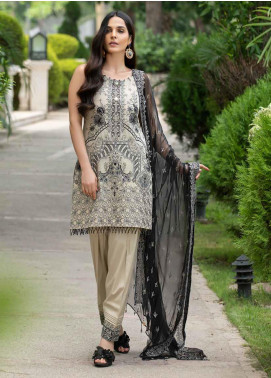 Motifz Embroidered Lawn Unstitched 3 Piece Suit MT20-PF2 2593 Chrome White - Festive Collection