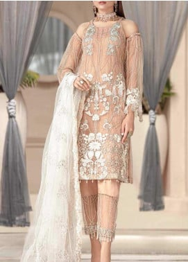 Motifz Embroidered Net Unstitched 3 Piece Suit MT20W MWU02578 - Wedding Collection