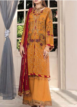 Motifz Embroidered Chiffon Unstitched 3 Piece Suit MT20W MWU02579 - Wedding Collection