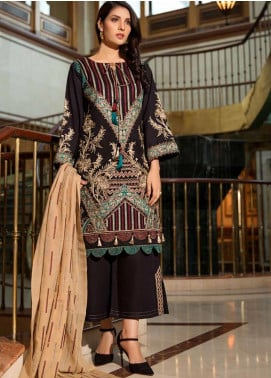 Motifz Embroidered Khaddar Unstitched 3 Piece Suit MT19PE 2371 Ebony Streaks - Premium Collection