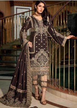 Motifz Embroidered Silk Karandi Unstitched 3 Piece Suit MT19PE 2373 Regal Brown - Premium Collection