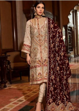 Motifz Embroidered Silk Unstitched 3 Piece Suit MT19PE 2375 Folk Grandeur - Premium Collection