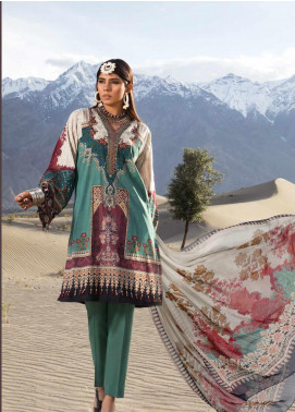 Maria B MPrints Embroidered Lawn Unstitched 3 Piece Suit MBP19K 8A - Festive Collection