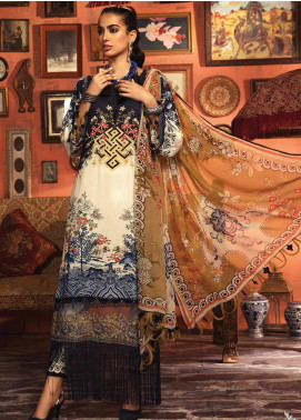 Mprints by Maria B Embroidered Linen Unstitched 3 Piece Suit MB20FW 1B - Winter Collection