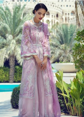 Mushq Embroidered Net Unstitched 3 Piece Suit MQ19WD 06 CASHMERE ROSE - Wedding Collection